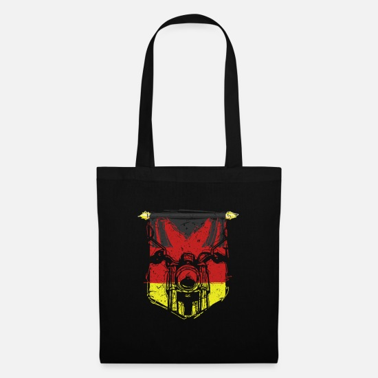 Birthday Bags & Backpacks - german flag front classic motorcycle biker - Tote Bag black