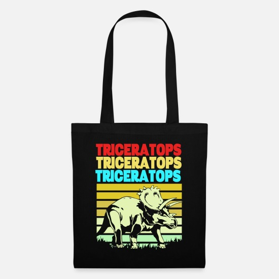 Gift Idea Bags & Backpacks - Triceratops Dino dinosaur fossil primeval lizard - Tote Bag black