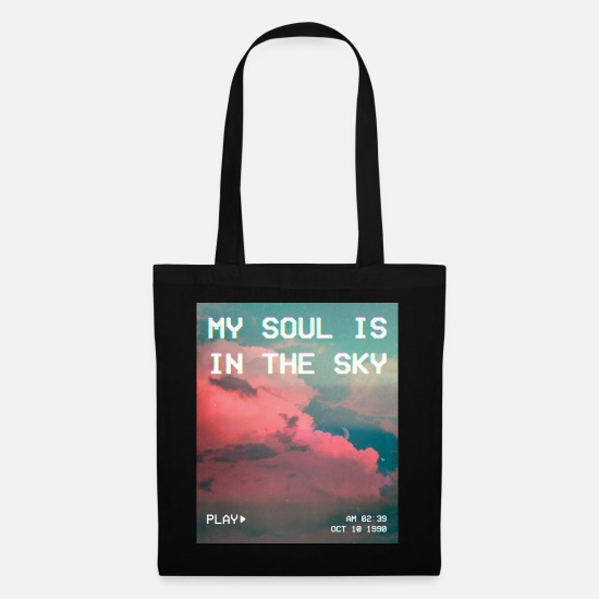 Aesthetics Bags & Backpacks - My Soul Is In The Sky Aesthetic Vaporwave - Tote Bag black