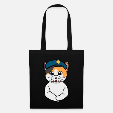 Blue Police policeman cat cats blue light - Tote Bag