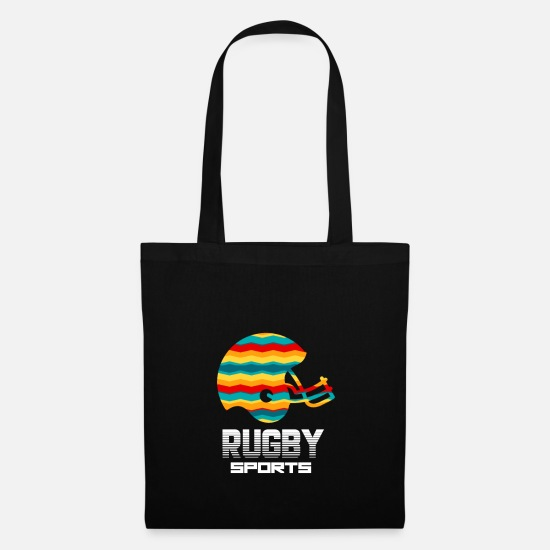 Rugby Bags & Backpacks - Rugby Sports Equipment Retro Art Gift - Tote Bag black