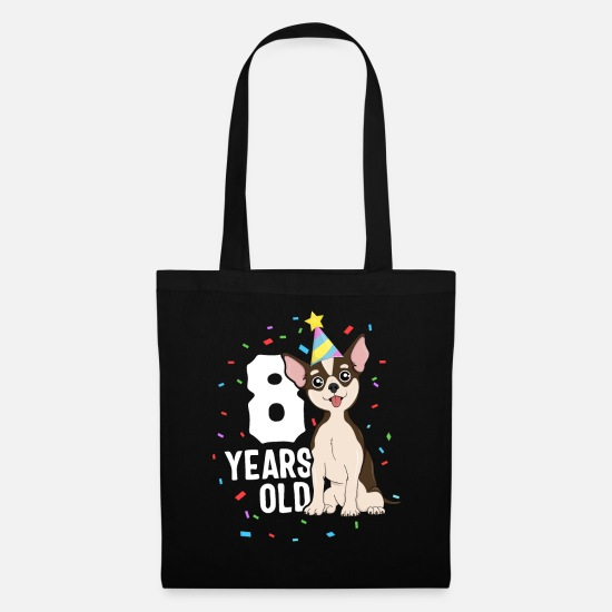 Chihuahua Bags & Backpacks - 8 Years Old Birthday Outfit Chihuahua Dog Party - Tote Bag black