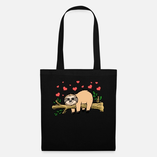 Lazy Bags & Backpacks - Sloth Valentines Day - Tote Bag black