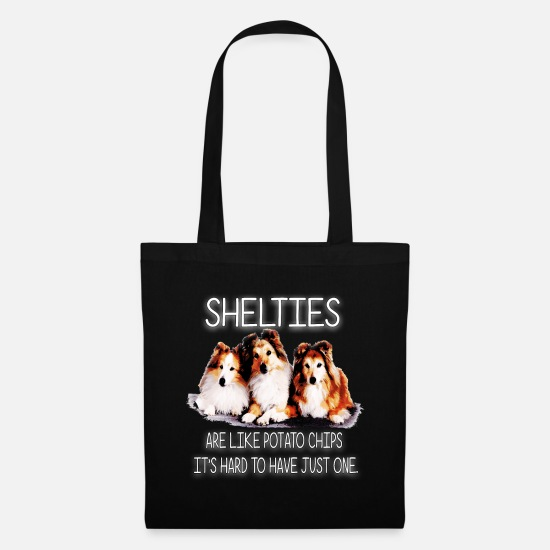 Dog Friend Bags & Backpacks - Shelties are like potato chips - Tote Bag black