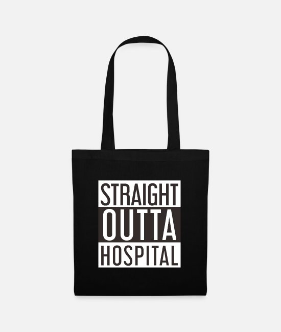 Chemo Bags & Backpacks - Out of Hospital - Straight outta Hospital - Tote Bag black