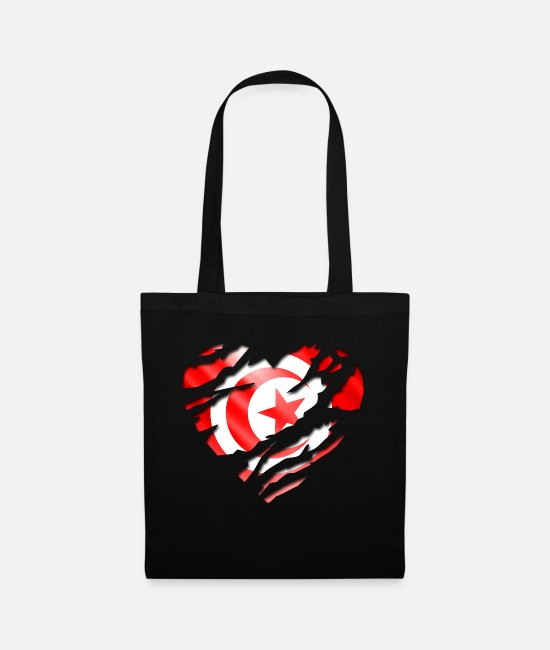 Peace Design Europe World Chad Ghana Tunisian Bags & Backpacks - africa flag tunisia tunisie - Tote Bag black