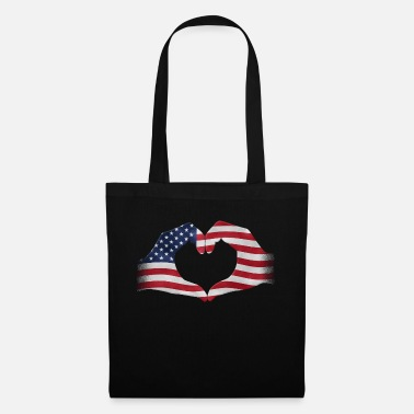 Army Hands shaped to heart USA flag - Tote Bag