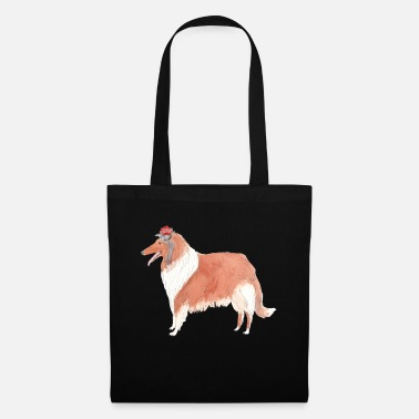 Doggy Shop collie with flower - Tote Bag