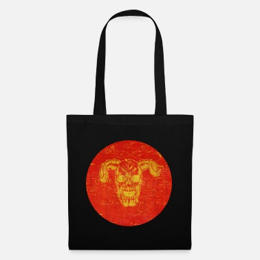 Totenkopf golden skull with horns grunge effect - Tote Bag