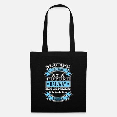 Railroad Railway workers train locomotive - Tote Bag