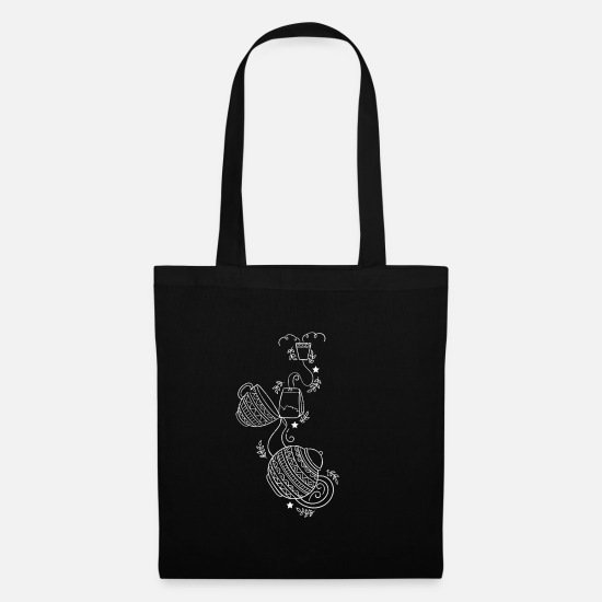 Tea Bags & Backpacks - Black tea tea time jug cup tattoo gift - Tote Bag black