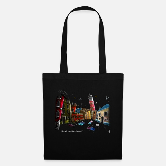Italian Bags & Backpacks - Art T-shirt Design Venice Italy - Children Fantasy - Tote Bag black