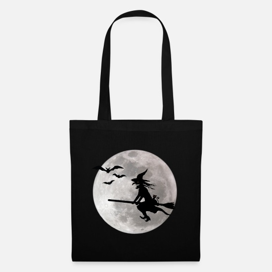 Halloween Bags & Backpacks - Halloween witch with a cat flies on the sky - Tote Bag black