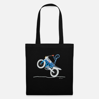 Seat Motorcycle stick figure driving on the road - Tote Bag