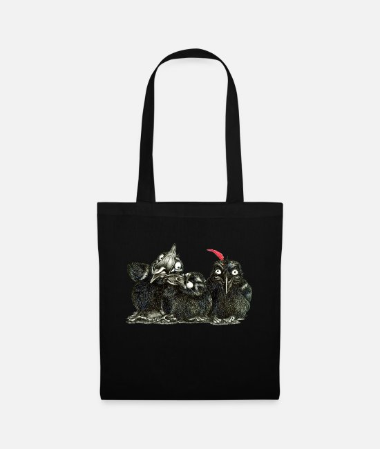 Raven Bags & Backpacks - three young crows - Tote Bag black