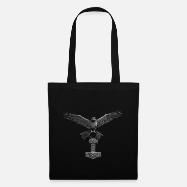 Viking Thor Hammer Mjölnir with Odin Ravens Hugin and Munin - Tote Bag
