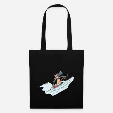Deep Snow Cat on ski in deep snow - Tote Bag