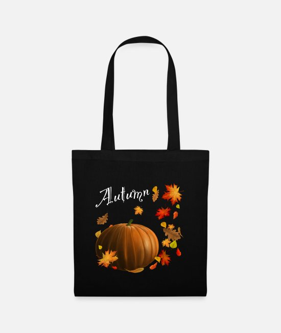 Horror Bags & Backpacks - Pumpkin in autumn with leaves - Tote Bag black
