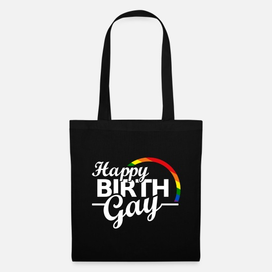 Birthday Bags & Backpacks - Happy Birthday Gay Pride saying Funny - Tote Bag black