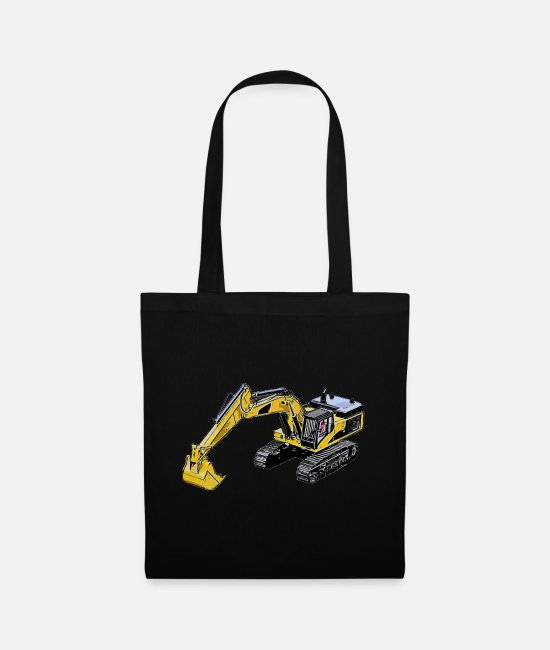 Road Construction Bags & Backpacks - Crawler Excavator Colored Excavator - Tote Bag black