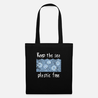 Mann Keep the sea plastic free - Klimawandel, Umwelt - Stoffbeutel