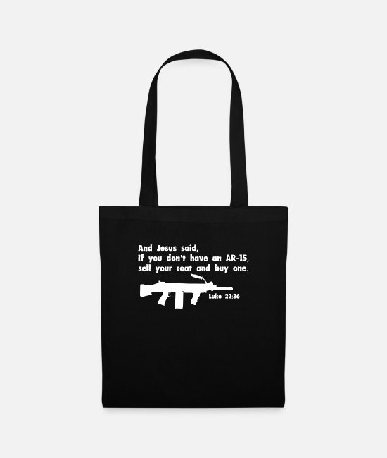 Gun Lover Bags & Backpacks - AR 15 Gun Christian Design - Tote Bag black
