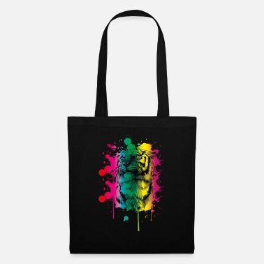 Indochinese Tiger Pastel Watercolor Rainbow - Tote Bag