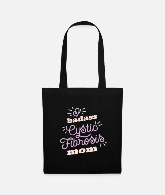 Cystic Fibrosis Bags & Backpacks - Bad Ass Cystic Fibrosis Mom Warrior graphic CF - Tote Bag black
