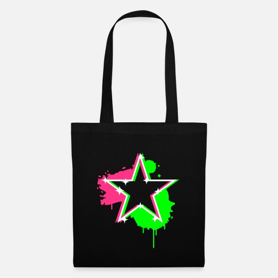 Star Bags & Backpacks - 3D graffiti star design - Tote Bag black