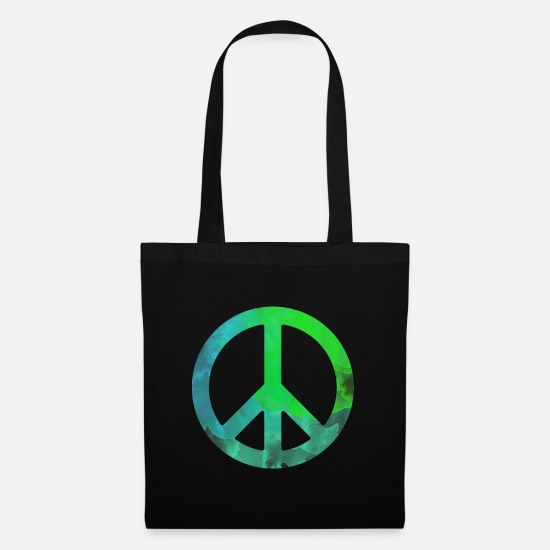 Love Bags & Backpacks - Peace green blue watercolor colorful gift symbol - Tote Bag black