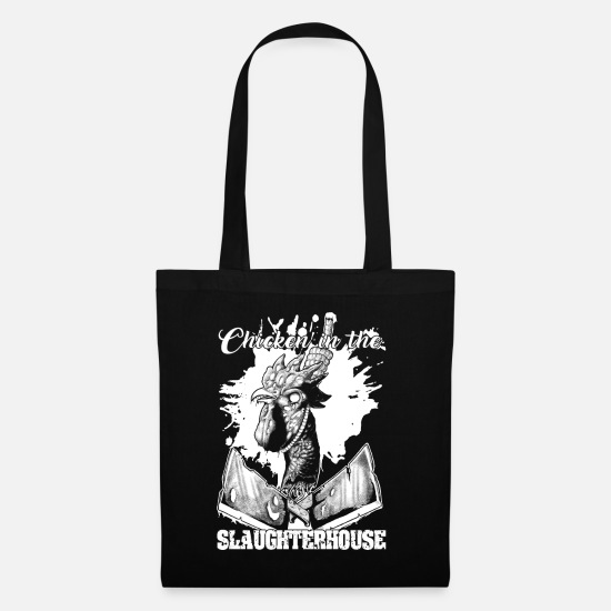 Gift Idea Bags & Backpacks - Chicken in the slaughterhouse horror man woman - Tote Bag black