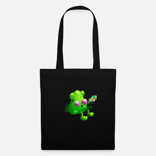 Gift Idea Bags & Backpacks - Alien with MP3 Player | Gift funny Area 51 - Tote Bag black