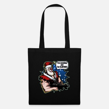 Merry Xmas Santa Claus Machine Gun Funny Christmas Gift Men - Tote Bag