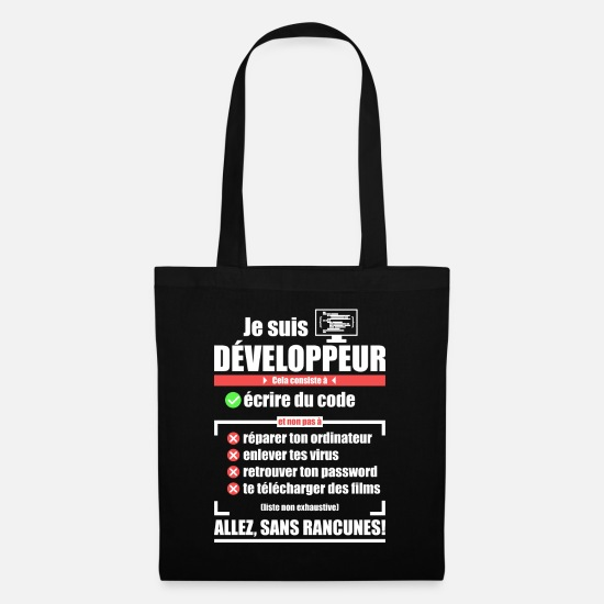 Java Bags & Backpacks - I am a developer - Tote Bag black