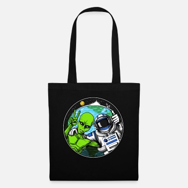 Science Space Astronaut Alien Peace Sign Galaxy Planet - Tote Bag