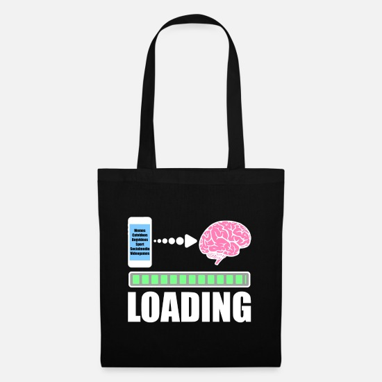 Gift Idea Bags & Backpacks - Mobile phone smartphone searches loading bar - Tote Bag black