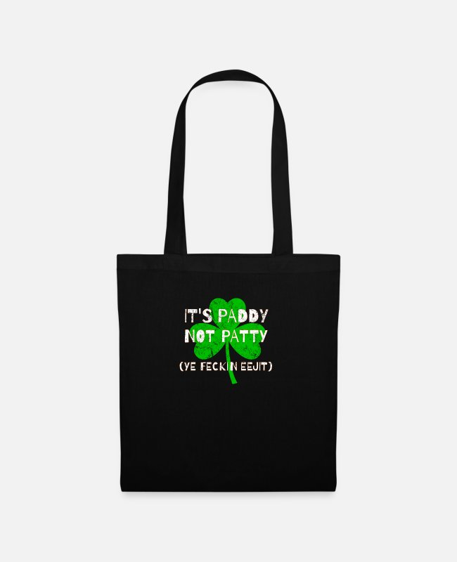 St Patricks Day Bags & Backpacks - Feckin Eejit Distressed for St Paddy's Day - Tote Bag black