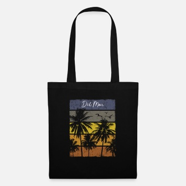 State Retro Del Mar Beach Print Vacation Souvenir - Tote Bag