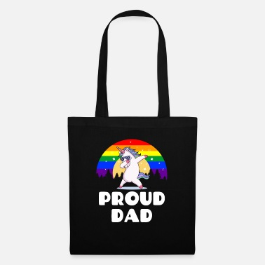 Proud Dad - Gay Pride Unicorn LGBT Flag - Tygväska