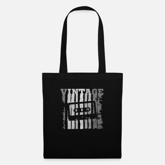 Tape Bags & Backpacks - Vintage Tape '80's Music Tape Cassette Tape - Tote Bag black