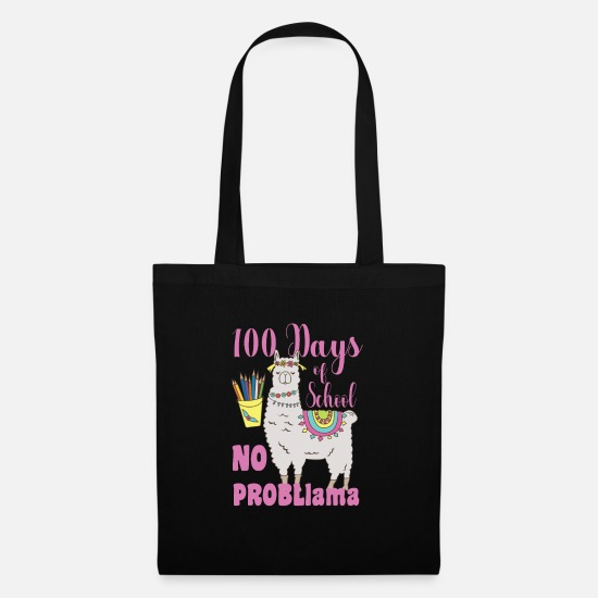 Gift Idea Bags & Backpacks - 100 days school No Problama school kid gift - Tote Bag black