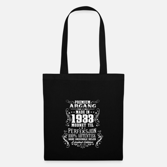 Birthday Bags & Backpacks - 1933 85 premium årgang bursdag gave NO - Tote Bag black
