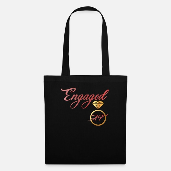 Engagement Bags & Backpacks - Engaged AF Engagement Valentines Day - Tote Bag black