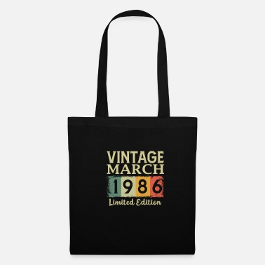 Since Vintage 35th Birthday March 1986 Sports Gift - Tote Bag