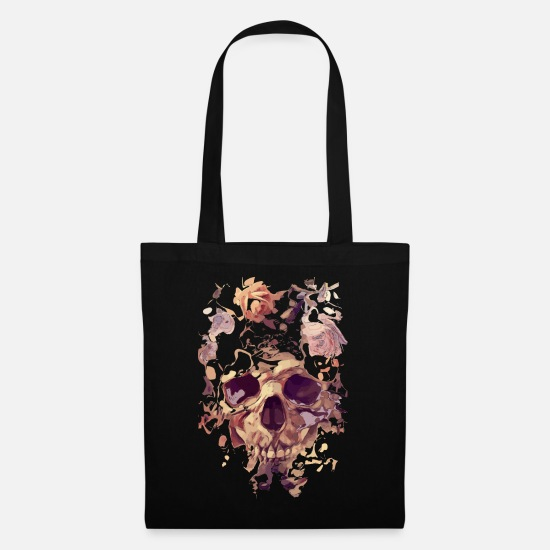 Skull Bags & Backpacks - Skull with roses - Tote Bag black