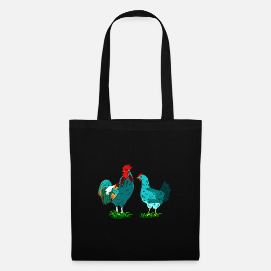 Chicken Bags & Backpacks - rooster chicken - Tote Bag black