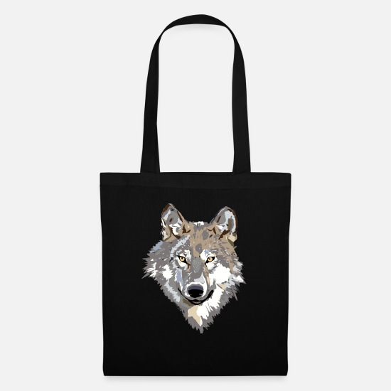 Forest Animal Bags & Backpacks - wolf face - Tote Bag black