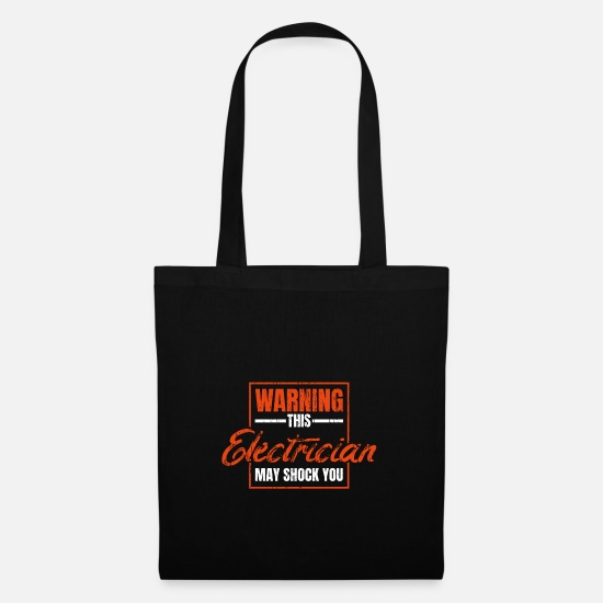 Gift Idea Bags & Backpacks - Electricians shock - Tote Bag black