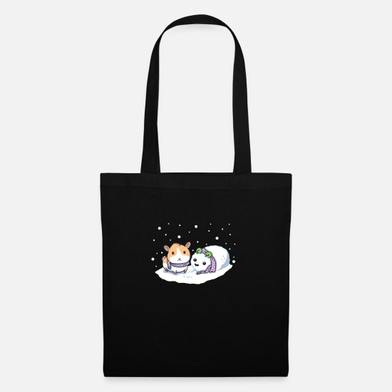 Forest Bags & Backpacks - Cute Hamster Animal Pet With Snow Man Gift - Tote Bag black