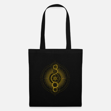 Yoga Sacred Geometry Metatron's Cube Gold Transcendence - Tote Bag